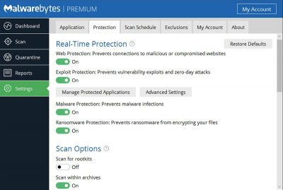 Malwarebytes free download Screenshot